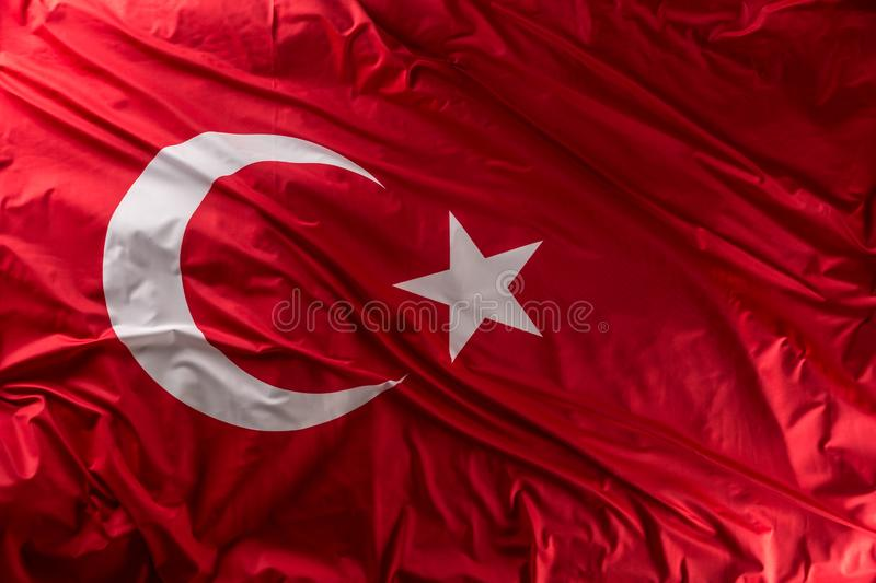 Turkey flag waving in the wind - top of view royalty free stock images