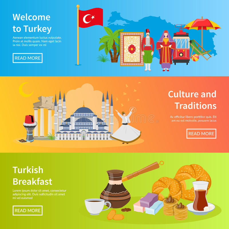 Turkey Flat Horizontal Banners. Set of traditional cultural values and turkish breakfast icons compositions flat vector illustration royalty free illustration