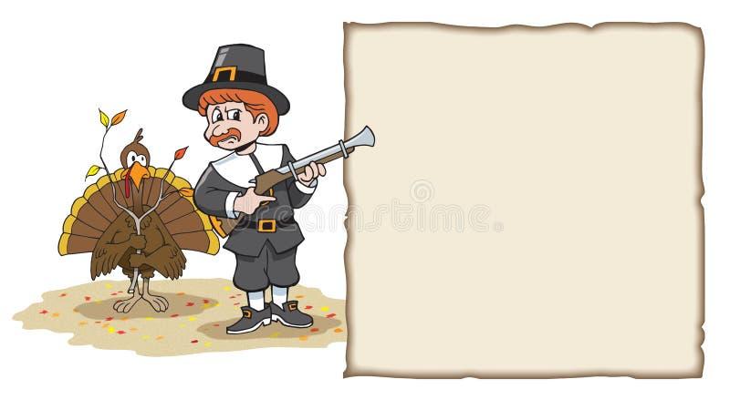 Turkey Hiding from pilgrim with tree branch stock illustration