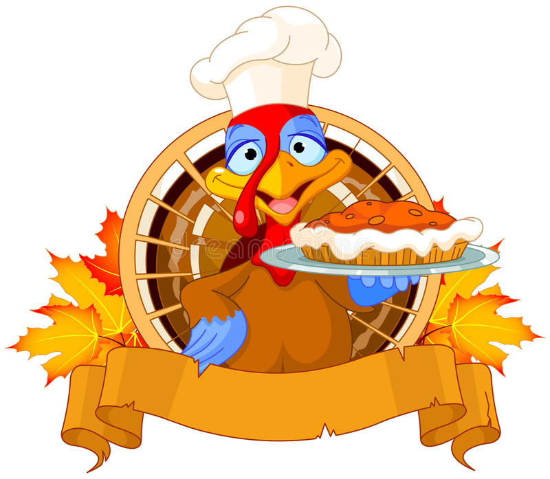 Turkey holds Pie vector illustration