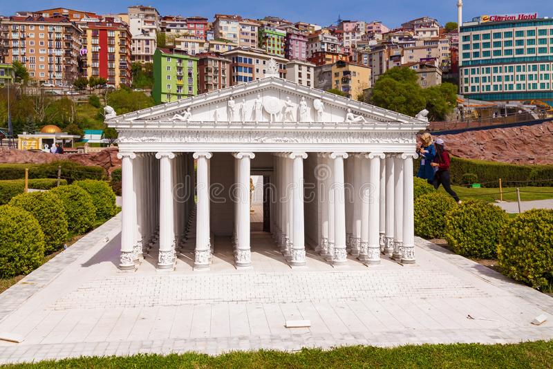 Miniaturk park in istanbul. Turkey Istanbul April 18, 2018: Miniaturk park in istanbul, the largest miniature park in the world. Representative models of Temple stock photography