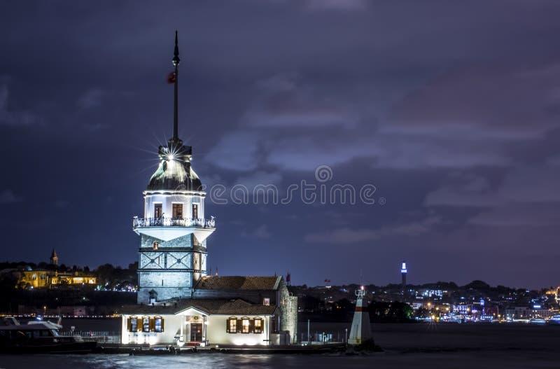 Turkey Istanbul Maiden Tower Kiz Kulesi historical building. Night view stock photos