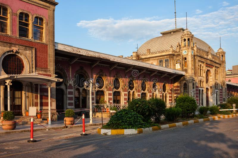 Sirkeci Railway Station at Sunset in Istanbul royalty free stock photography
