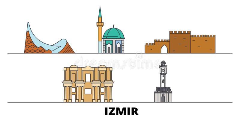 Turkey, Izmir flat landmarks vector illustration. Turkey, Izmir line city with famous travel sights, skyline, design. Turkey, Izmir flat landmarks vector royalty free illustration
