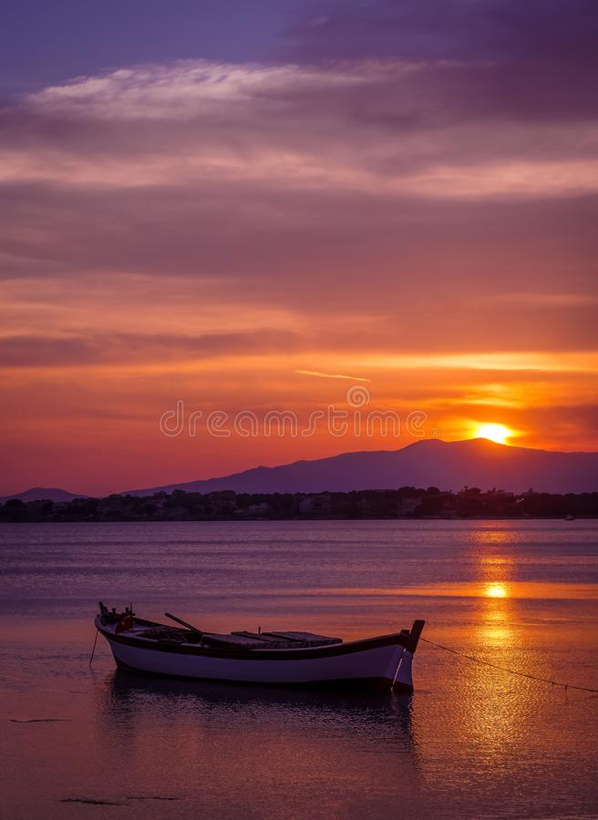 Turkey izmir solo boat on a sunset royalty free stock image
