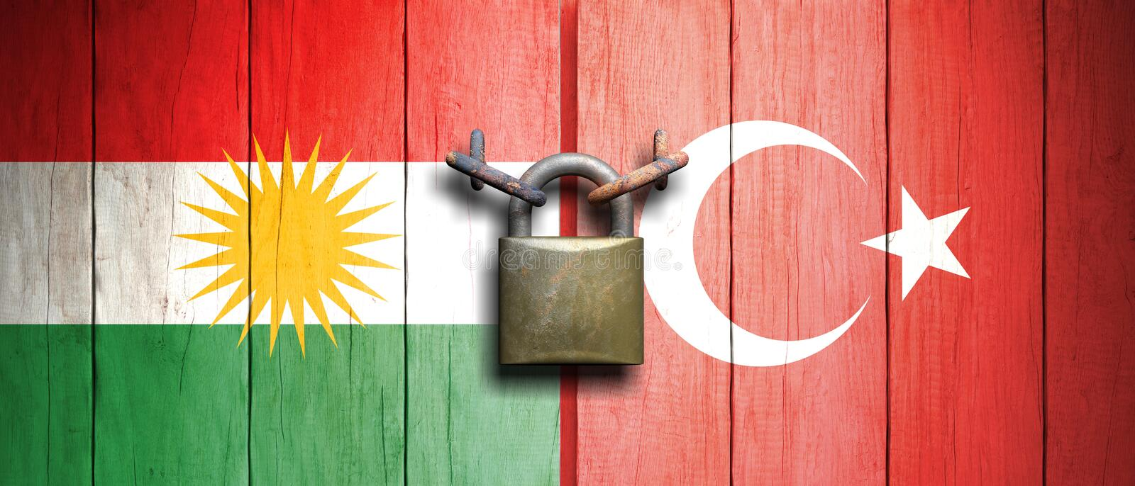 Turkey and Kurdistan flags united with an old, rusty padlock. 3d illustration. Turkey and Kurdistan relations concept. Turkey and Kurdistan flags united with an royalty free illustration