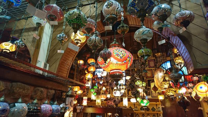 Turkey lamps. Many lamps in the shop at bursa, turkey stock image