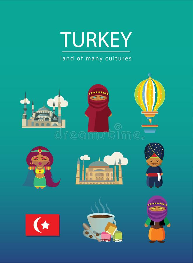 Turkey land of many cultures with nine elements royalty free illustration