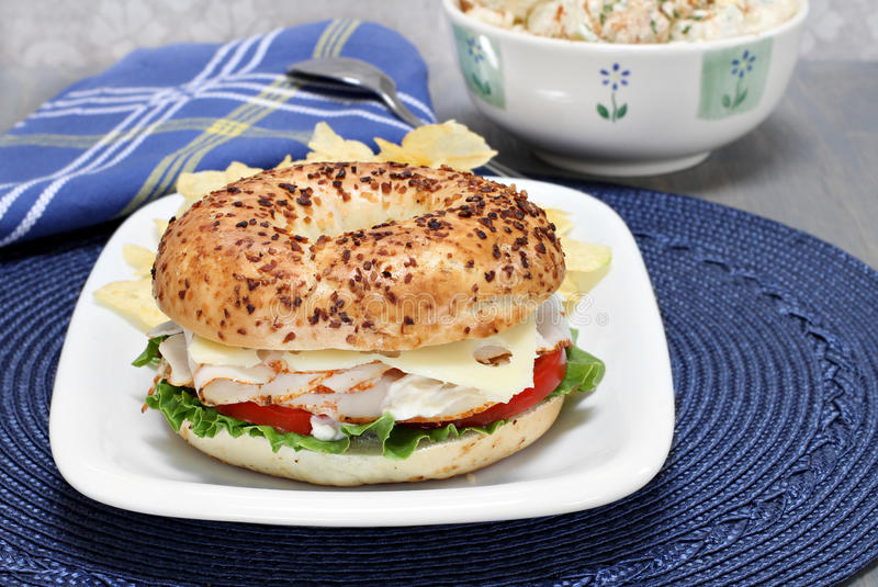 Turkey, lettuce, tomato and swiss cheese sandwich on an onion royalty free stock photos