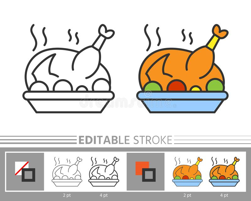 Thanksgiving day turkey linear icon stock illustration