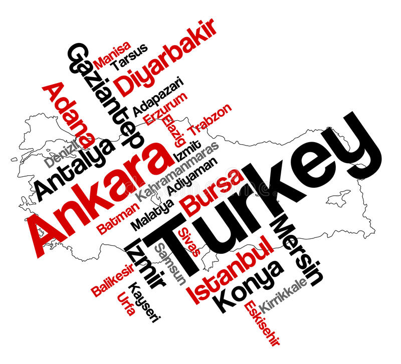 Turkey map and cities. Turkey map and words cloud with larger cities royalty free illustration