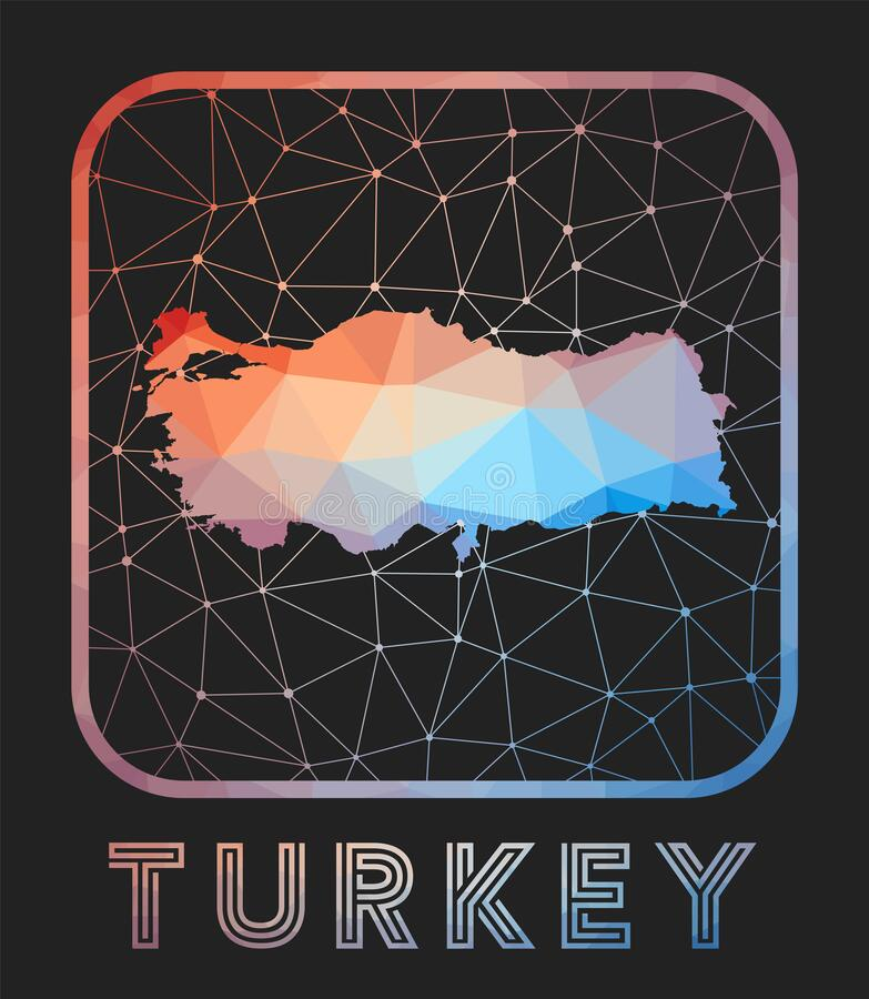 Turkey map design. Vector low poly map of the country. Turkey icon in geometric style. The country shape with polygnal gradient and mesh on dark background vector illustration