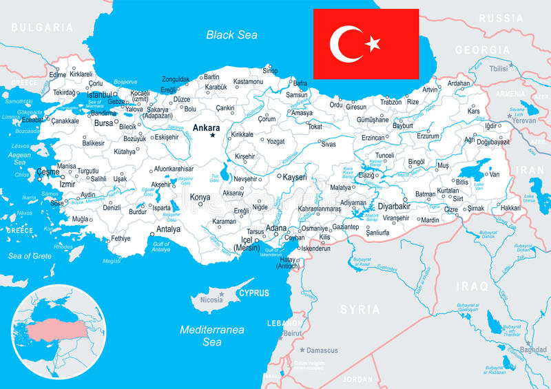Turkey Map And Flag Illustration Stock Illustration