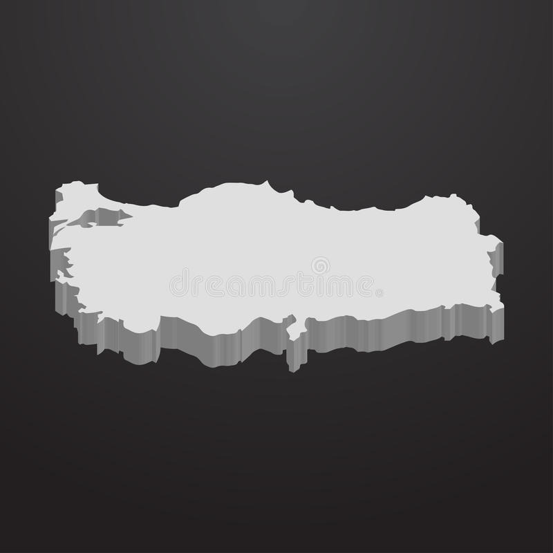Turkey map in gray on a black background 3d stock illustration
