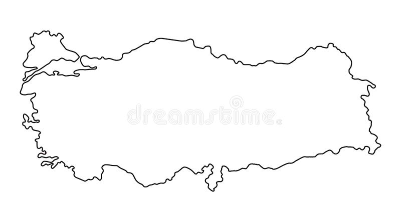 Turkey map outline vector illustration. Isolated on white background vector illustration