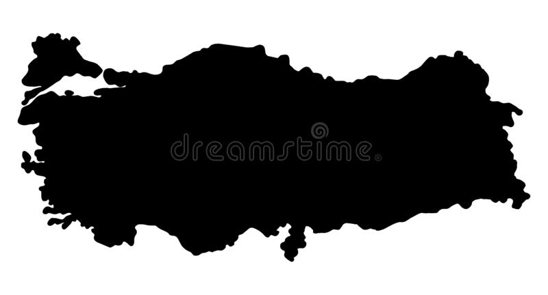 Turkey map silhouette vector illustration. Isolated on white background stock illustration