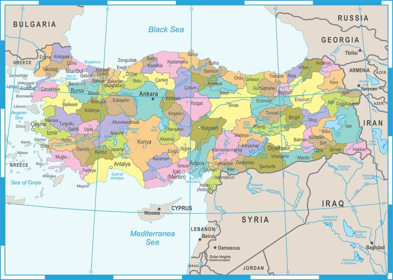 Turkey Map Vector Illustration Stock Illustration Illustration