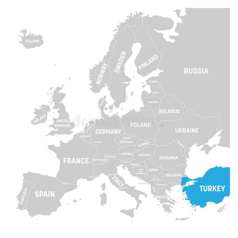 download turkey marked by blue in grey political map of europe vector illustration stock vector