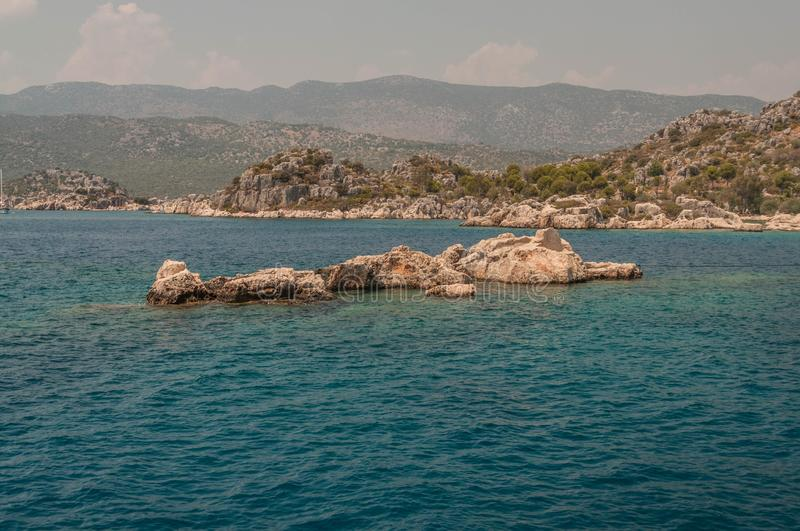 Turkey. the Mediterranean coast.Ruins of the ancient city Kekova destroyed by an earthquake stock photos