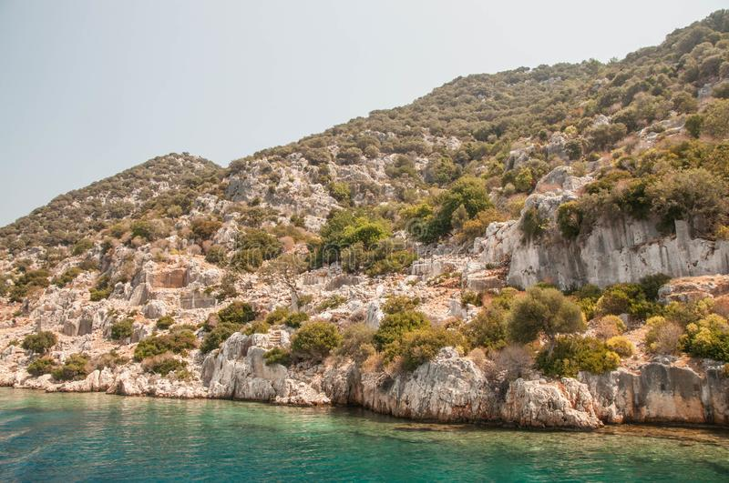 Turkey. the Mediterranean coast.Ruins of the ancient city Kekova destroyed by an earthquake royalty free stock photography