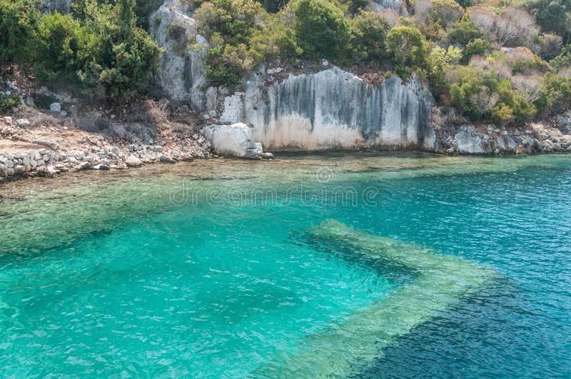 Turkey. the Mediterranean coast.Ruins of the ancient city Kekova destroyed by an earthquake stock photo