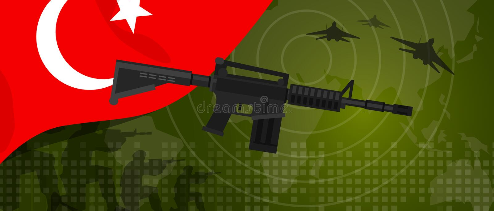 Turkey military power army defense industry war and fight country national celebration with gun soldier jet fighter and. Radar vector stock illustration