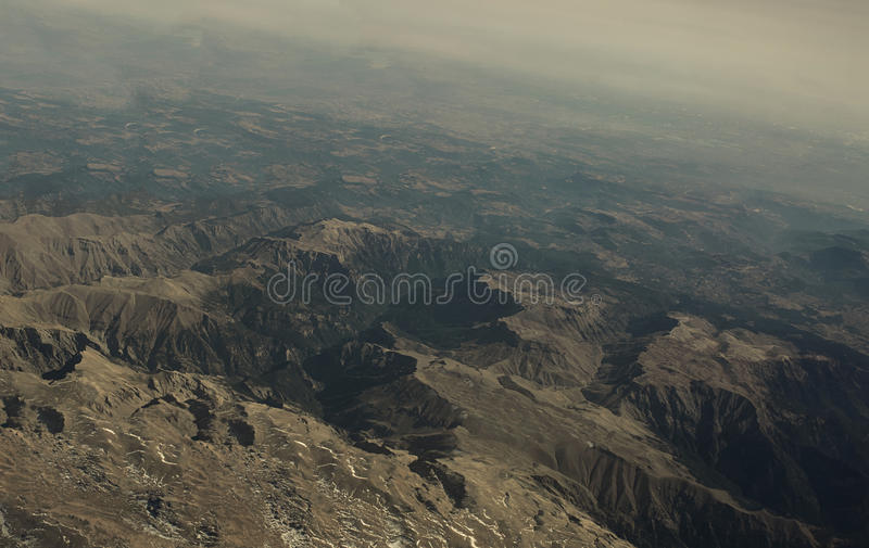 Turkey Mountain view from above. The tops of the mountains from airplane royalty free stock photography