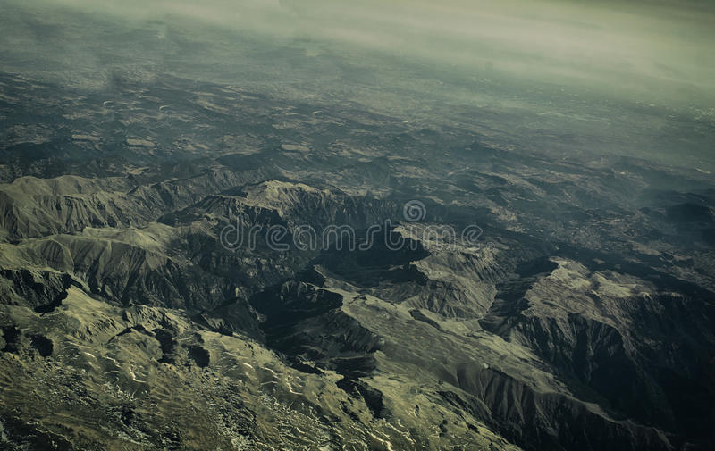 Turkey Mountain view from above. The tops of the mountains from airplane stock photos