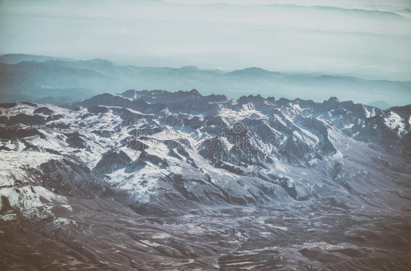 Turkey Mountain view from above. The tops of the mountains from airplane stock photo