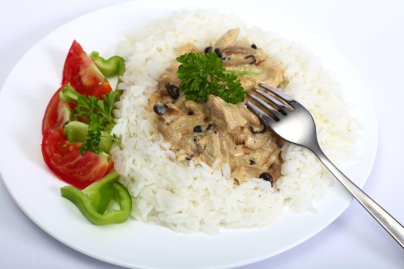 Turkey and mushroom in cream sauce royalty free stock image