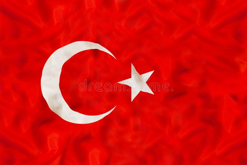 Turkey national flag with waving fabric stock photos