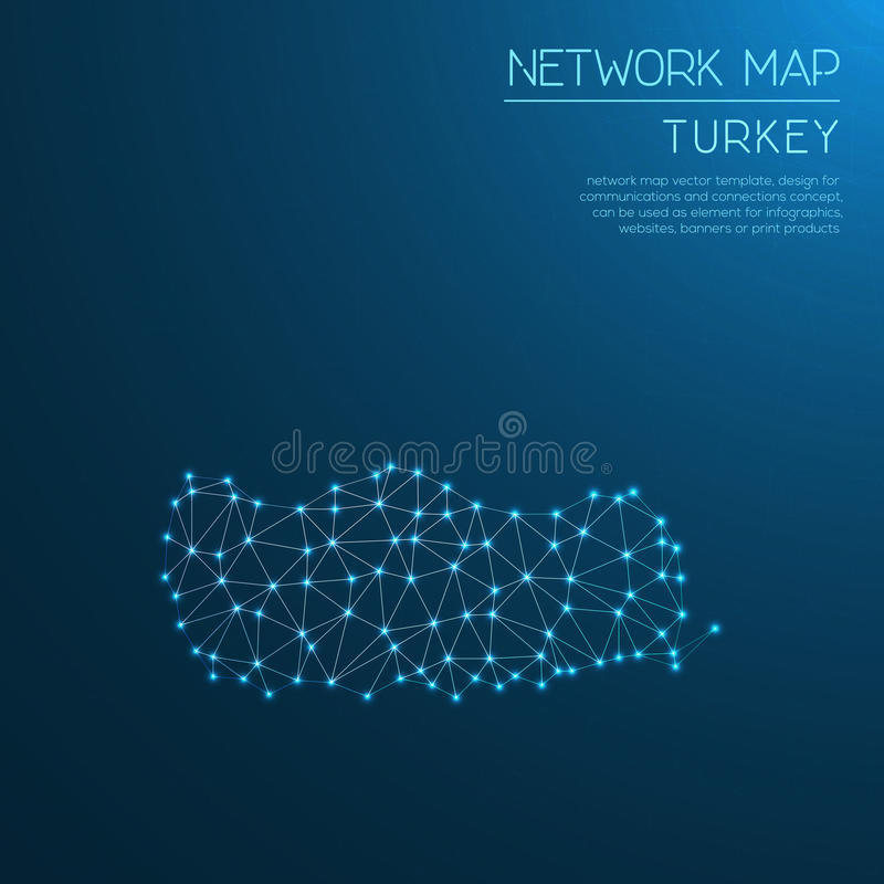 Turkey network map. royalty free illustration
