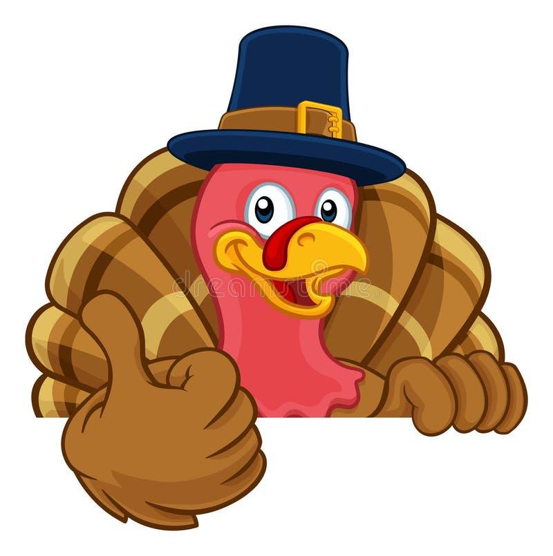 Turkey Pilgrim Hat Thanksgiving Cartoon Character royalty-vrije illustratie