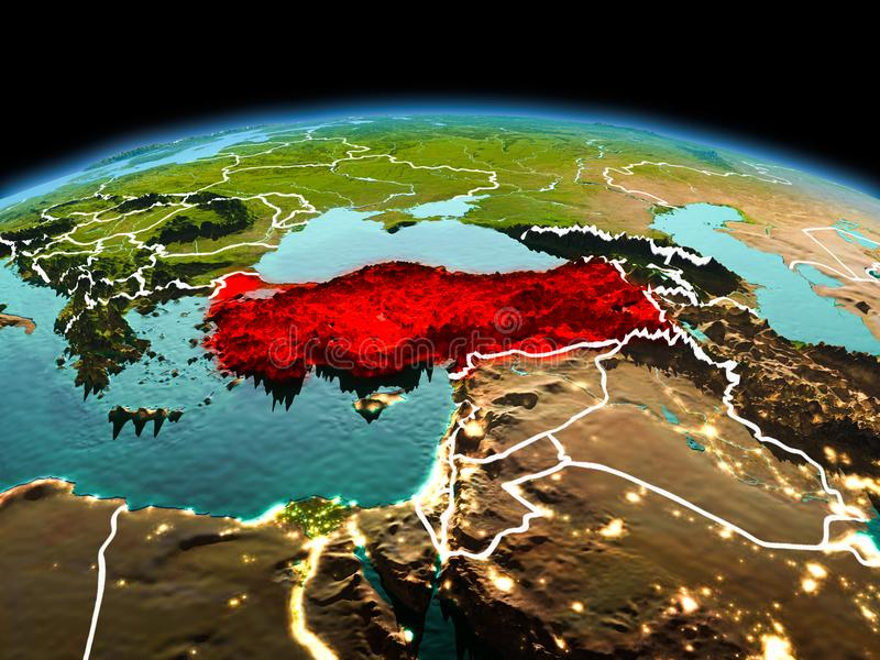 Turkey on planet Earth in space. Morning above Turkey highlighted in red on model of planet Earth in space with visible border lines and city lights. 3D royalty free stock photography