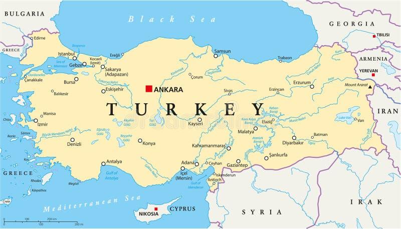 Turkey Political Map stock vector Illustration of gaziantep 103453176