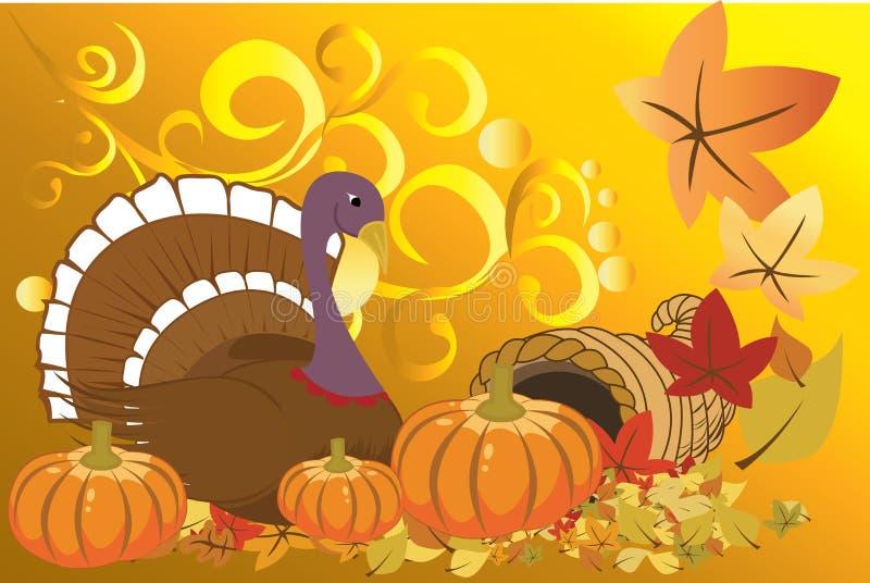 Turkey and pumpkins vector illustration