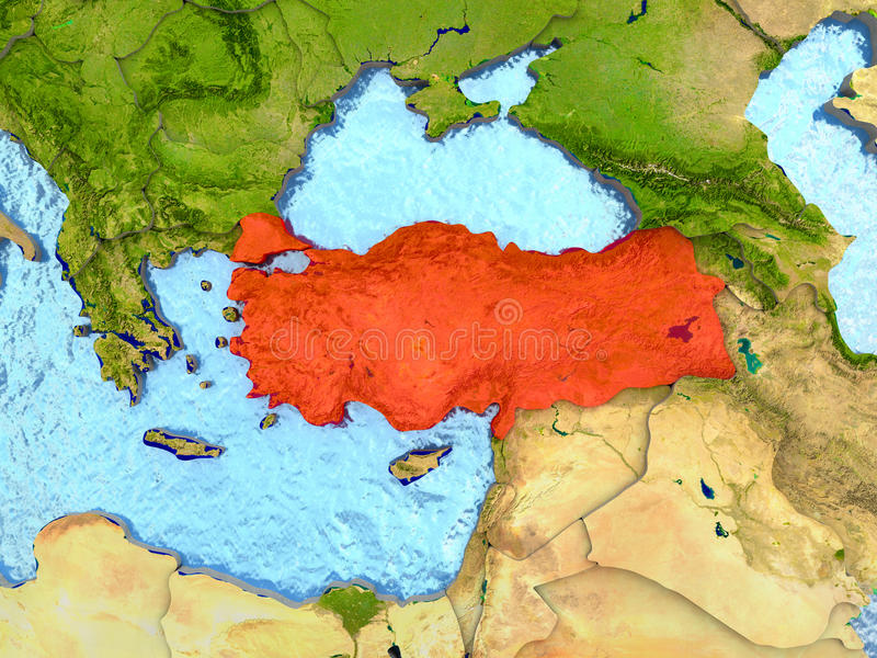 Turkey in red. Top-down view of Turkey highlighted in red with surrounding region. 3D illustration with highly detailed realistic planet surface. Elements of stock illustration