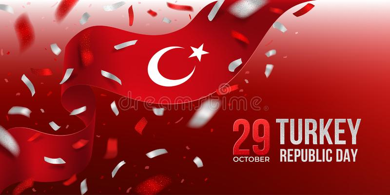Turkey Republic Day banner with confetti stock images