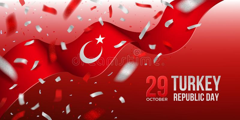 Turkey Republic Day banner with confetti royalty free stock image