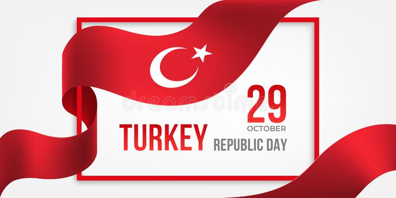 Turkey Republic Day banner with frame and ribbon royalty free stock image