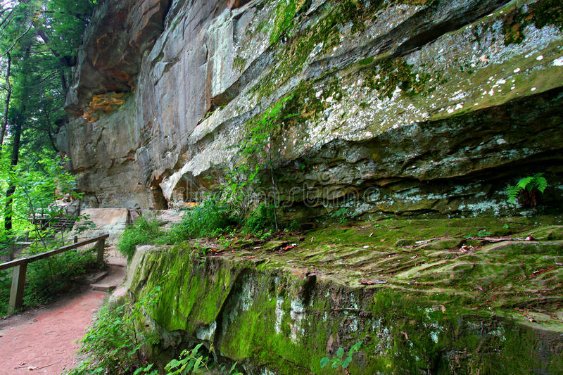 Turkey Run State Park Indiana. Hiking trail along a cliff of Turkey Run State Park in Indiana stock images