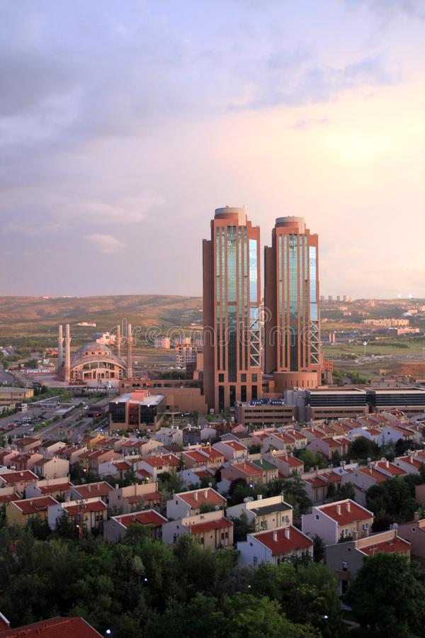 Turkey`s capital Ankara after the rain, rainbows, mountains and clouds royalty free stock photography