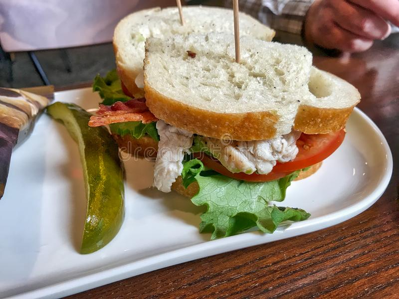 Turkey sandwich with tomato, pickle and lettuce stock photo