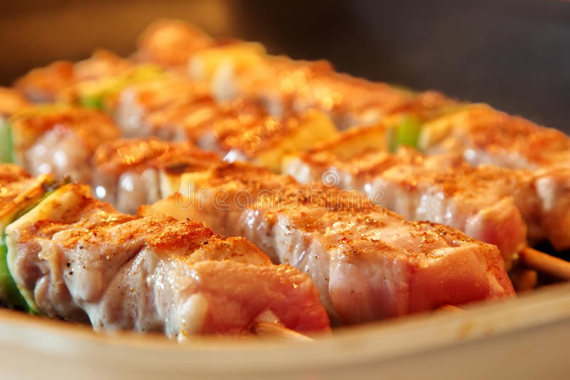 Turkey skewers. Close-up of juicy turkey skewers rosting on the barbeque stock photo