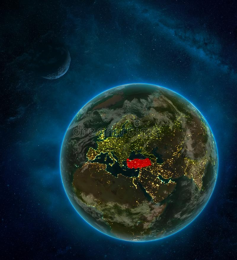 Turkey from space on Earth at night surrounded by space with Moon and Milky Way. Detailed planet with city lights and clouds. 3D. Illustration. Elements of this stock illustration