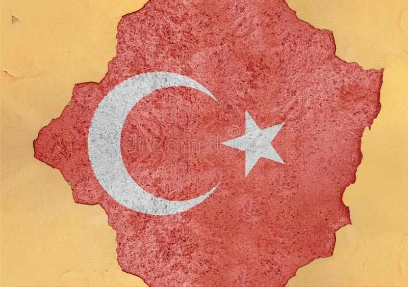 Turkey state flag broken material facade structure in big concrete wall. Turkey state flag broken material facade structure in big concrete cracked hole stock photo
