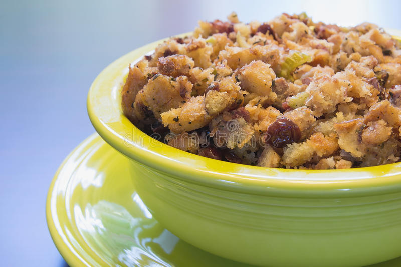 Turkey Stuffing in Green Bowl Closeup royalty free stock images