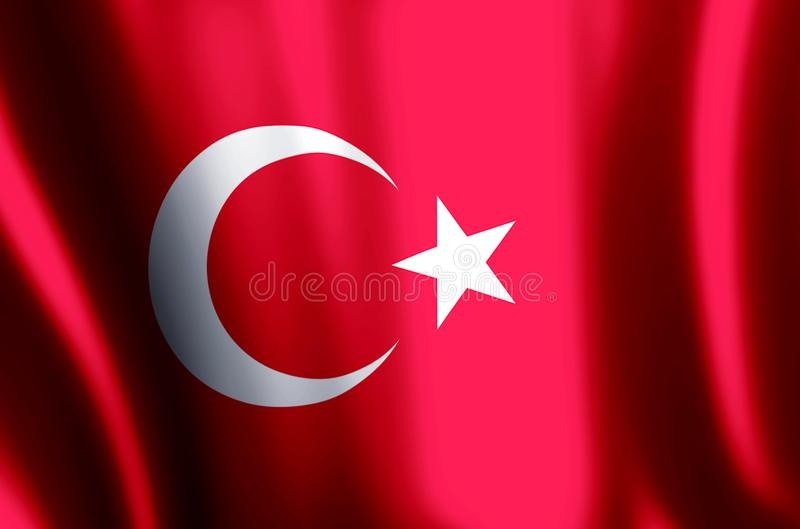Turkey. Stylish waving and closeup flag illustration. Perfect for background or texture purposes vector illustration