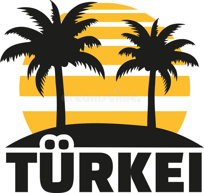Turkey with sun beach and palms. Vector royalty free illustration