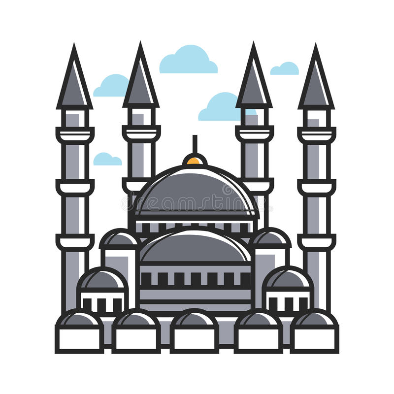 Turkey symbol mosque for culture, famous travel or tourist landmarks vector icon. Turkey mosque symbol of Turkish culture famous travel landmarks or tourist stock illustration
